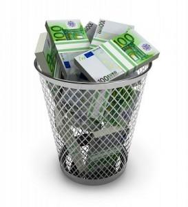 gaspiller argent - poubelle